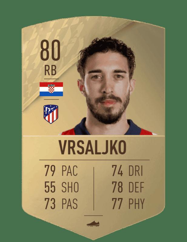 FIFA 22 medias: estas son todas las cartas del Atlético de Madrid en Ultimate Team Vrsaljko