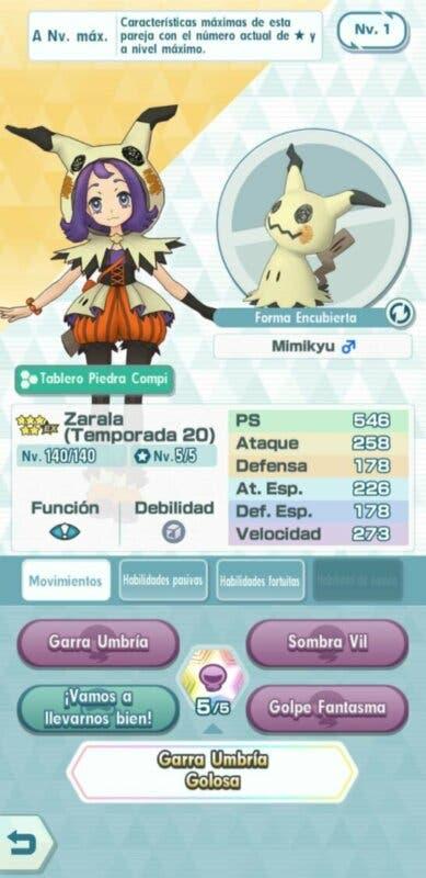 Zarala y Mimikyu Pokemon Masters EX