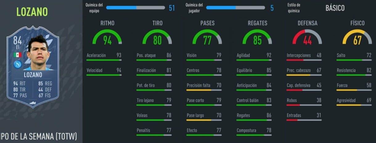 FIFA 22 Ultimate Team Equipo de la Semana TOTW 4 stats in game Lozano IF
