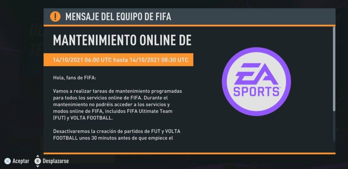 FIFA 22: no podemos jugar partidos de Ultimate Team por tiempo limitado por un nuevo mantenimiento