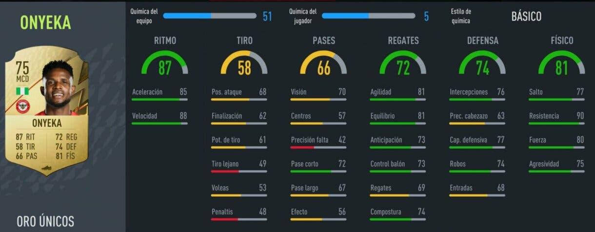 FIFA 22 Modo Carrera: ¿Buscas un gran mediocentro defensivo barato para tu club? Aquí tienes opciones muy interesantes stats in game Onyeka