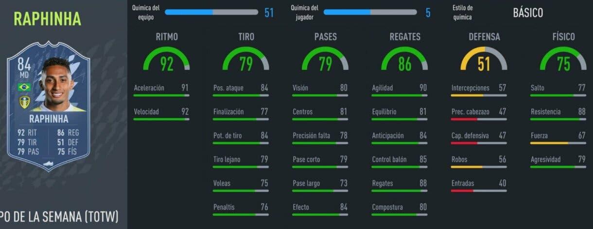 FIFA 22 Ultimate Team Equipo de la Semana TOTW 4 stats in game  Raphinha IF