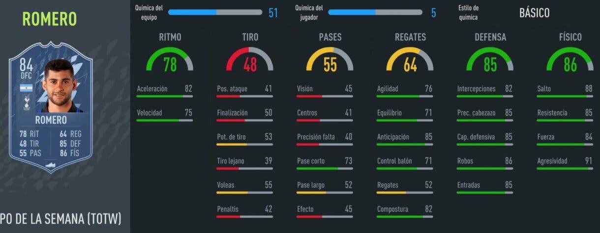 FIFA 22 Ultimate Team Equipo de la Semana TOTW 4 stats in game Romero IF