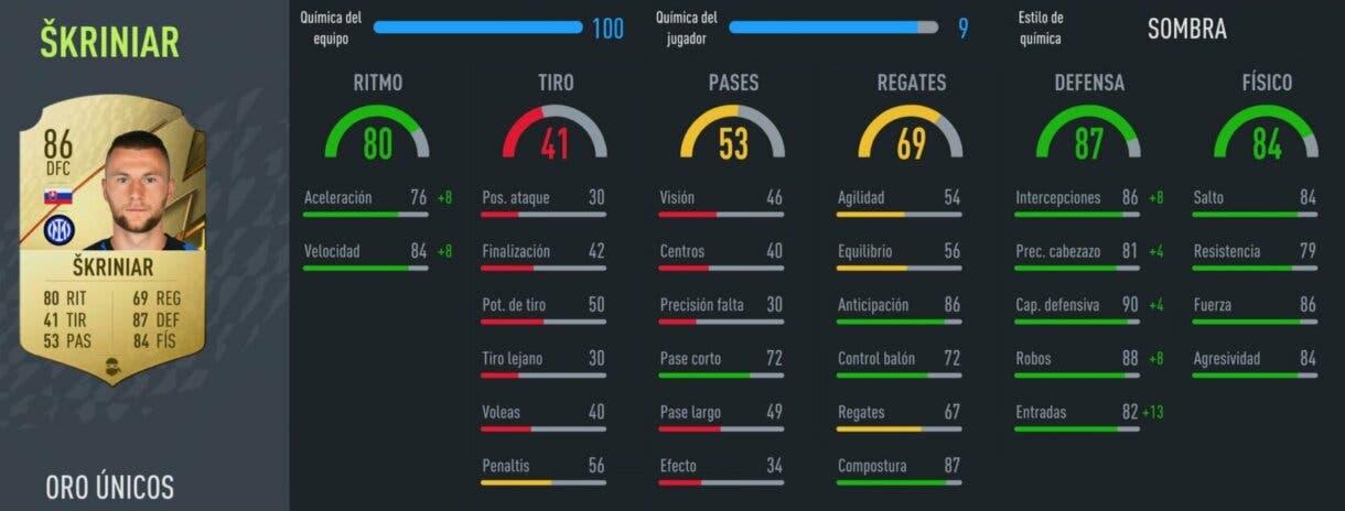 FIFA 22: equipo híbrido muy competitivo por poco más de 100.000 monedas Ultimate Team stats in game Skriniar